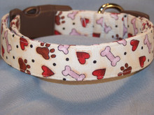 Paw prints Hearts and Dog Bones on Cream Collar