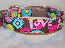 Psychedelic Pink and Green. Peace and Love Dog Collar on Brown
