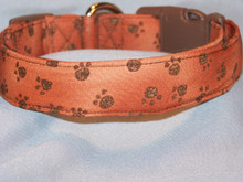 Brown Paw Prints on Brown Fabric Dog Collar
