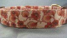 Red Flowers Scrolled on Tan Dog Collar