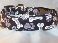 Paw Prints and Bones on Black Dog Collar