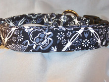 Black Bandanna Print Skull Dog Collar Rescue me Dog Collar