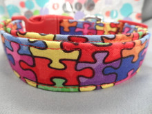 Colorful Puzzle Pieces Dog Collar