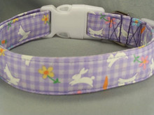 Easter Bunnies on Purple Gingham Dog Collar
