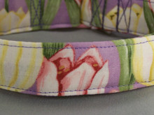 Pink and Yellow Tulips on Lilac Purple Dog Collar