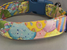 Colorful Painted Easter Eggs on Yellow Dog Collar  Shown here with blue side release buckle and slide. Other buckles colors are available.