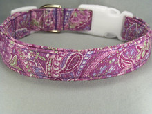 Purple Paisley Dog Collar  Shown here with white side release buckle and slide, other colors are available