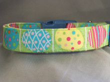 Colorful Easter Eggs on Green Dog Collar