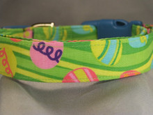 Brightly Colored Eggs on Grass Green Easter Dog Collar