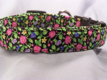 Black  with Bright Little Flowers Dog Collar