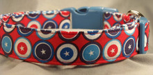 Red White and Blue Circles and Stars Dog Collar Rescue Me Collars