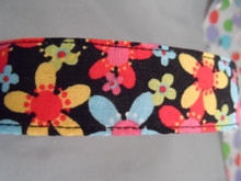 Bright Flowers on Black Dog Collar