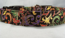 Bright Scroll on Black Dog Collar  Rescue Me Collars