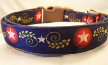 Patriotic Scroll Dog Collar Rescue Me Collar