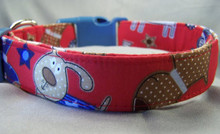 Fun Puppies on Red Dog Collar