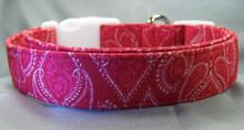 Red Paisley Damask Print Dog Collar Rescue Me Dog Collar
