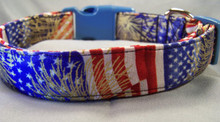 American Flag and Fireworks Dog Collar  rescue me collars