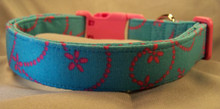Hot Pink Flower Scrolled on Blue Dog Collar