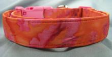 Hot Pink & Orange Batik Dog Collar