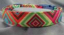 Bright Neon Geometric Squares Dog Collar
