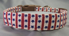 Blue Stars and Red Stripes Dog Collar