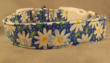 Blue Little Daisy Dog Collar Rescue Me Dog Collar