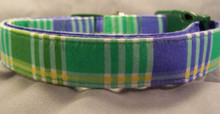 Preppy Blue and Green Plaid Dog Collar