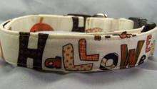 Halloween Words on Cream Dog Collar Rescue Me Collar
