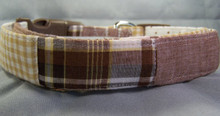 Brown and Tan Madras Dog Collar