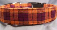 Orange and Purple Metallic Plaid  Dog Collar