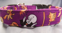 Casper the Friendly Ghost  Licensed Fabric Halloween Dog Collar Rescue Me Collars