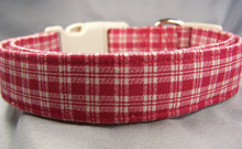 Red and Tan Checkered Dog Collar