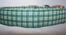 Green and Tan Check Dog Collar