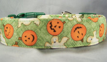 Happy Pumpkins and Ghosts on Green Halloween Dog Collar rescue me dog