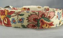 Pretty Flower Scroll on Beige Dog Collar