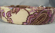 Paisley Dog Collar Beautiful Lilac on Tan