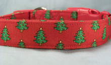 Green Christmas Trees on Red Dog Collar rescue me dog collar