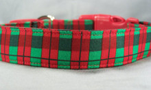Red and Green Check Plaid Dog Collar rescue me dog collar