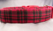 Red and Green Tartan Plaid Dog Collar