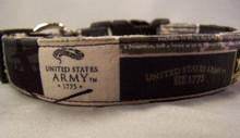 US Army Emblem Licensed Fabric Dog Collar