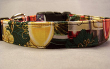 Wine Glasses and Grapes on Black Dog Collar