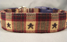 Vintage Country Look Stars on Plaid Dog Collar