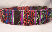 Cool & Colorful Lines on Black Dog Collar