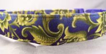 Elegant Blue and Gold Scroll Dog Collar