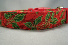 Holly on Bright Red Christmas Dog Collar
