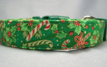 Holly and Candy Canes Christmas Dog Collar
