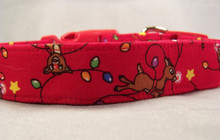 Red Nosed Reindeer Dog Collar