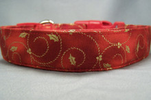 Gold Holly Scroll on Red Christmas Dog Collar