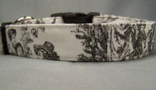 Black and White Toile Dog Collar rescue me collar