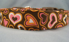 Fun and Funky Pink Hearts on Brown Dog Collar